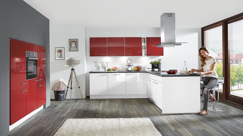 Nobilia einbauküche focus weiß rot